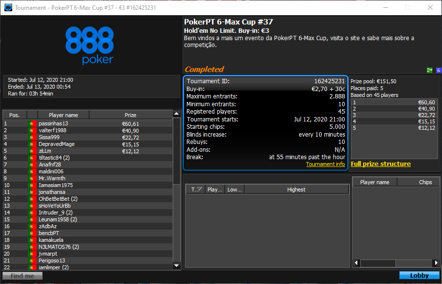 PokerPT 6-Max Cup #38