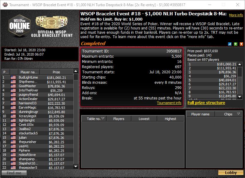 WSOP Bracelet #18 - $1.000 NLHE Turbo Deepstack