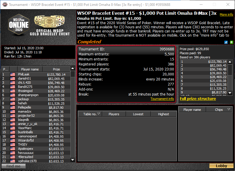WSOP Bracelet Event #15 - $1.000 Pot Limit Omaha 8-Max