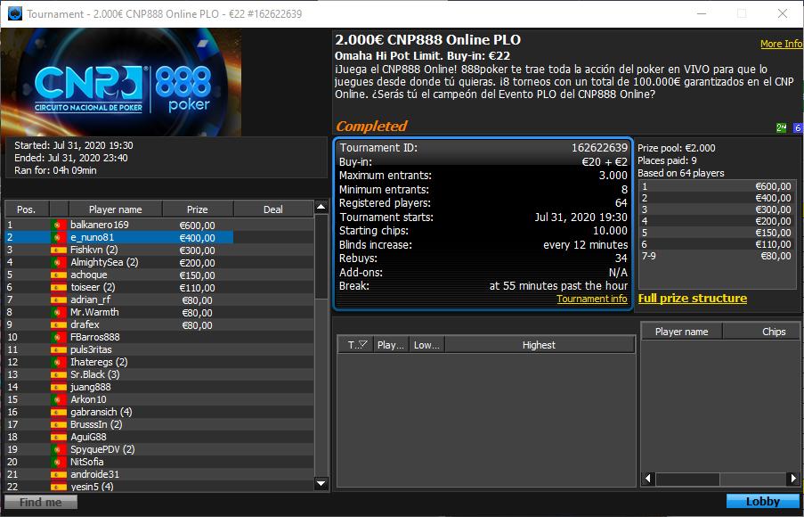 €2000 CNP 888 Online PLO