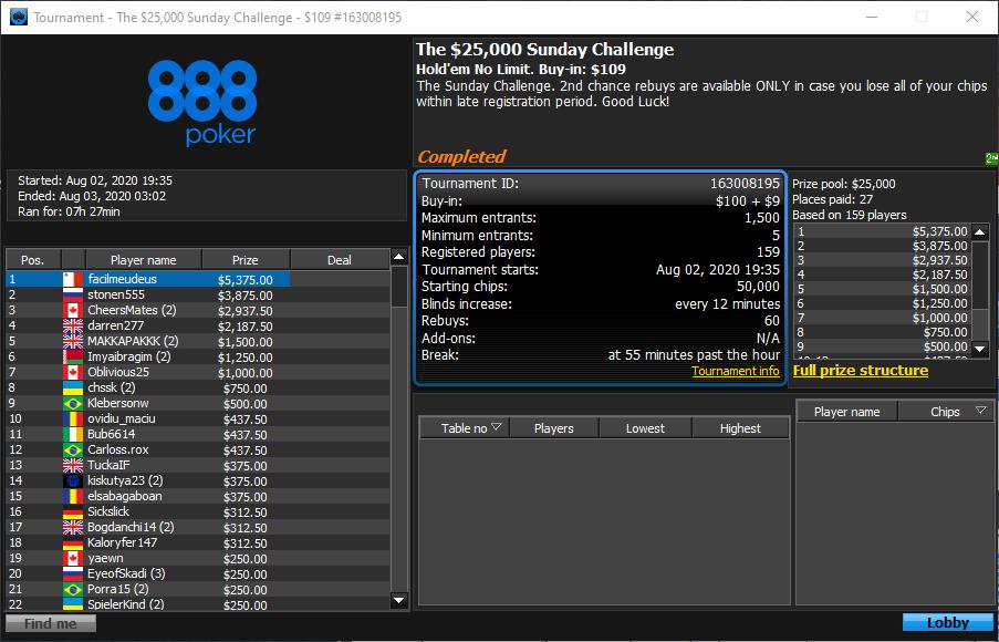 The $25000 Sunday Challenge