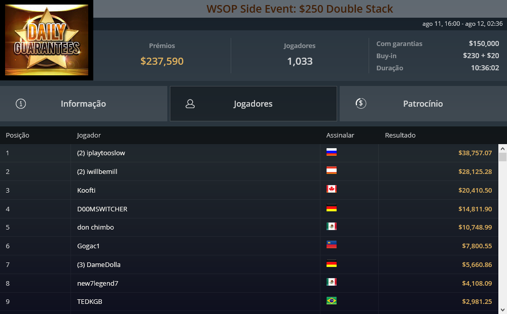 WSOP Side Event $250 Double Stack
