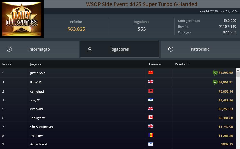 WSOP Side Event Super Turbo 6-Handed