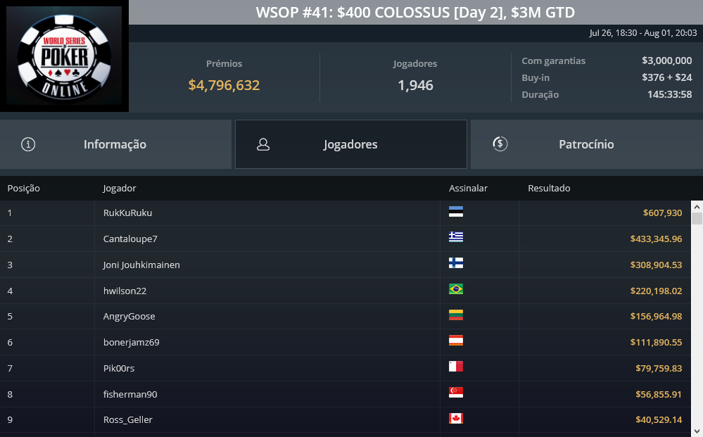 evento #41 COLOSSUS WSOP online