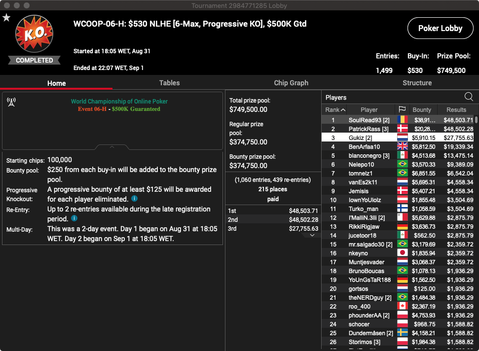 PokerStars WCOOP 2020 - Evento #6M