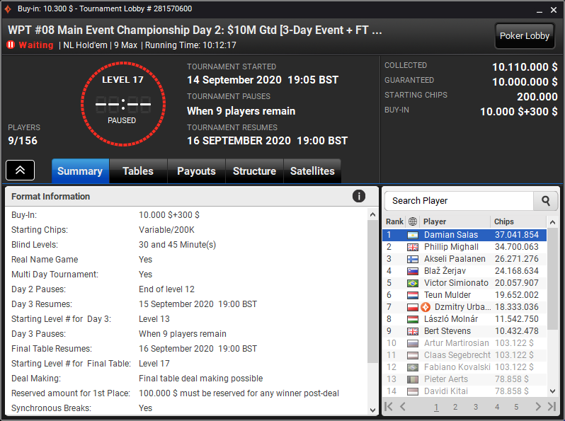 Main Event do WPT World Online Championships - partypoker