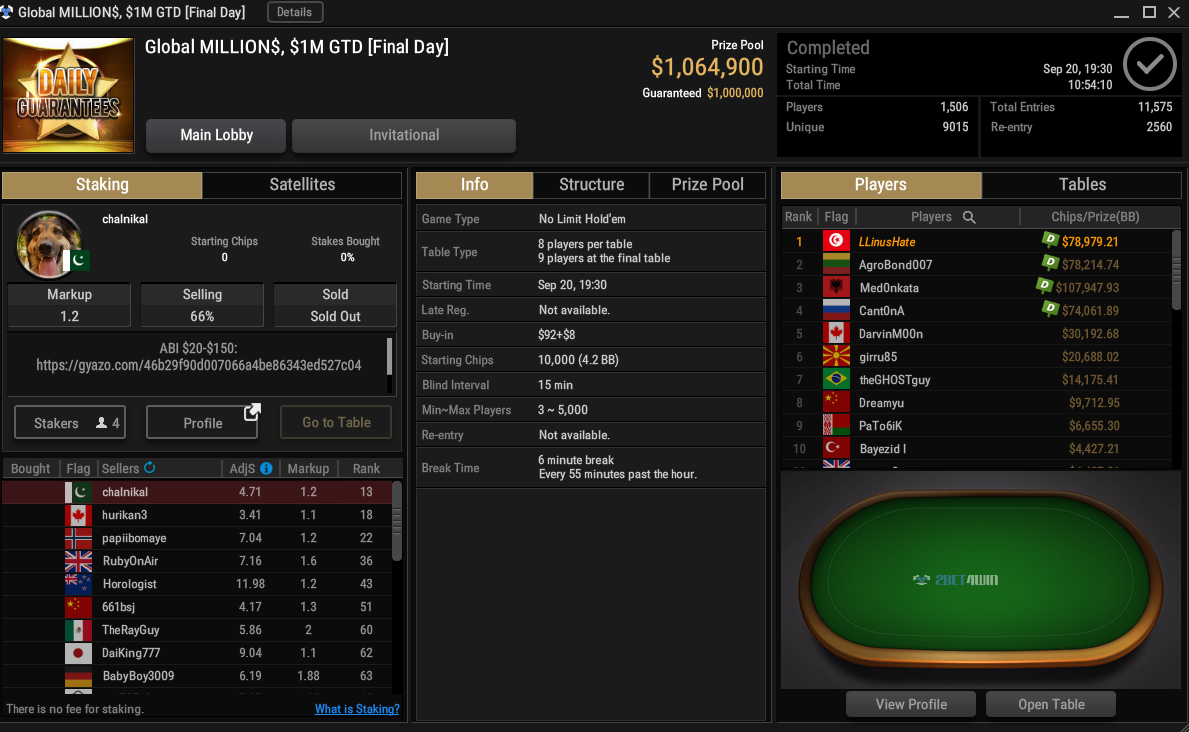GGPoker Global MILLIONS $1M GTD