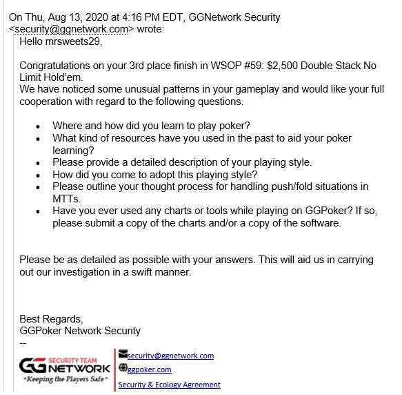 1º email de Pedro Madeira - GGPoker