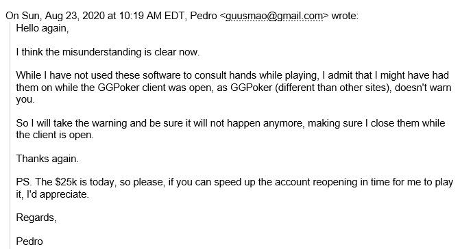 4º email de Pedro Madeira - GGPoker