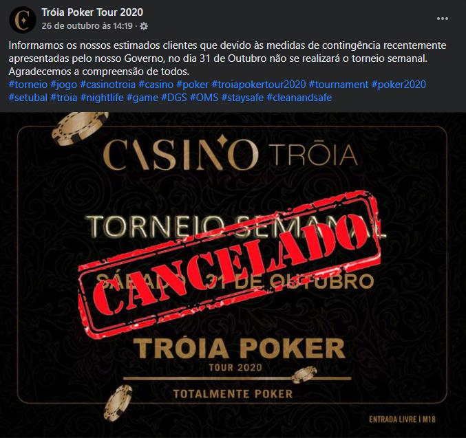 Torneio Semanal do Tróia Poker Tour Cancelado