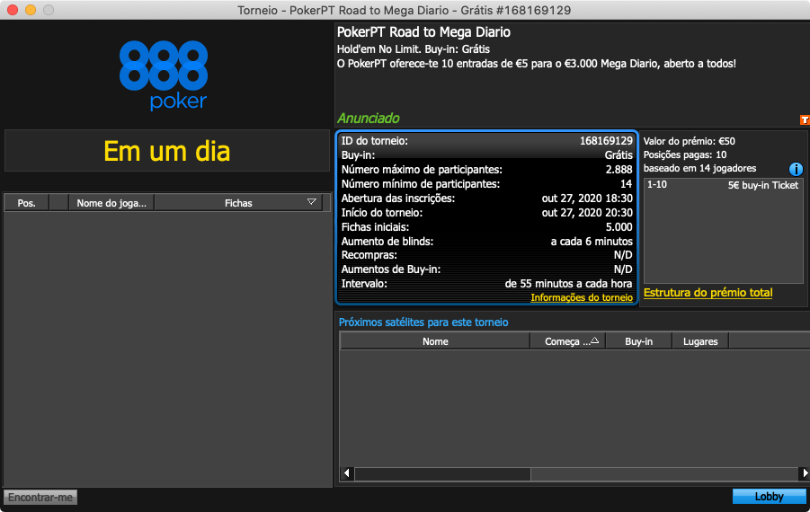 888poker road to mega diario 27 outubro