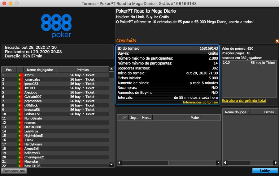 PokerPT Road to Mega Diário 28 outubro