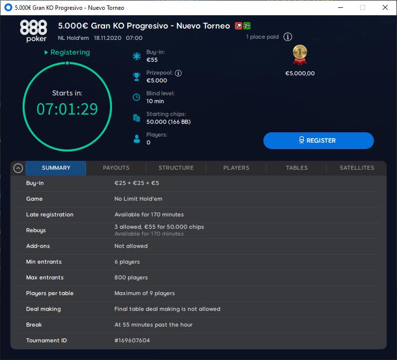 €5.000 Gran KO Progressivo - Novo torneio