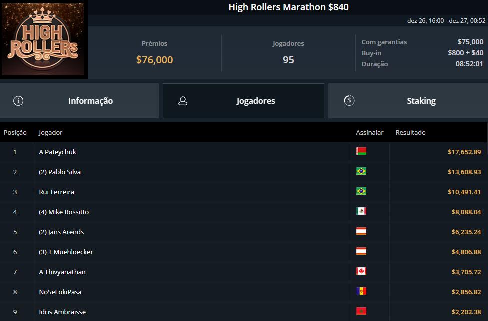 High Rollers Marathon $840
