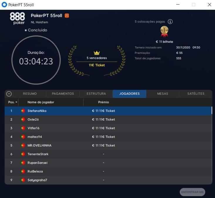 PokerPt 55roll - Resultados