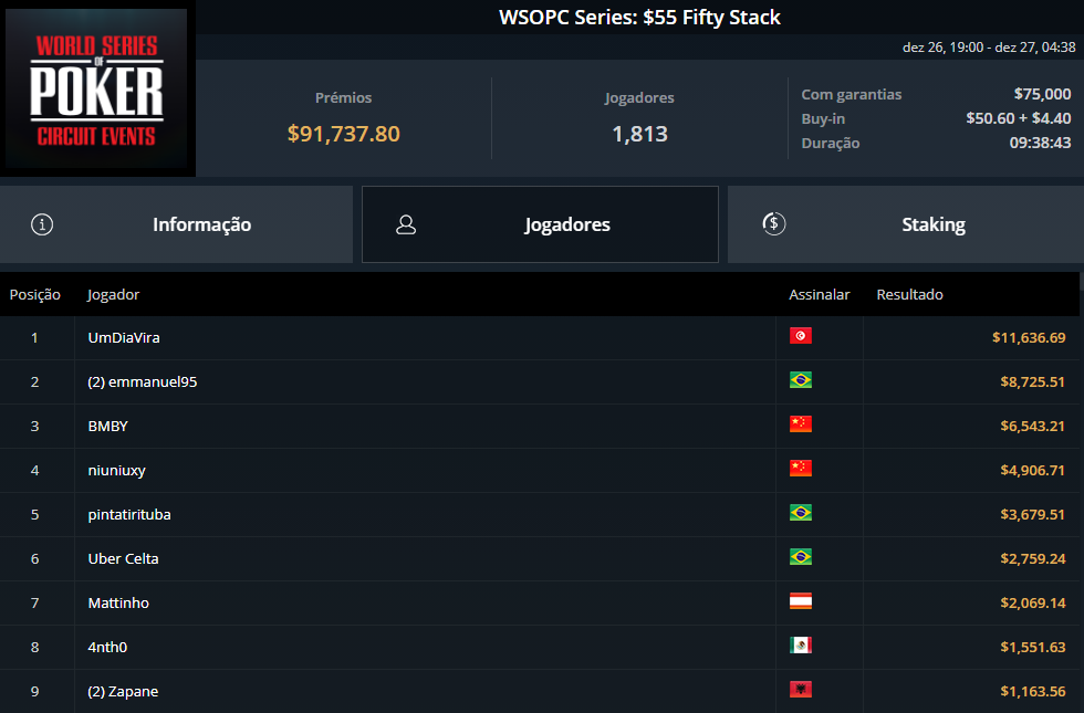 WSOPC Series $55 Fifty Stack