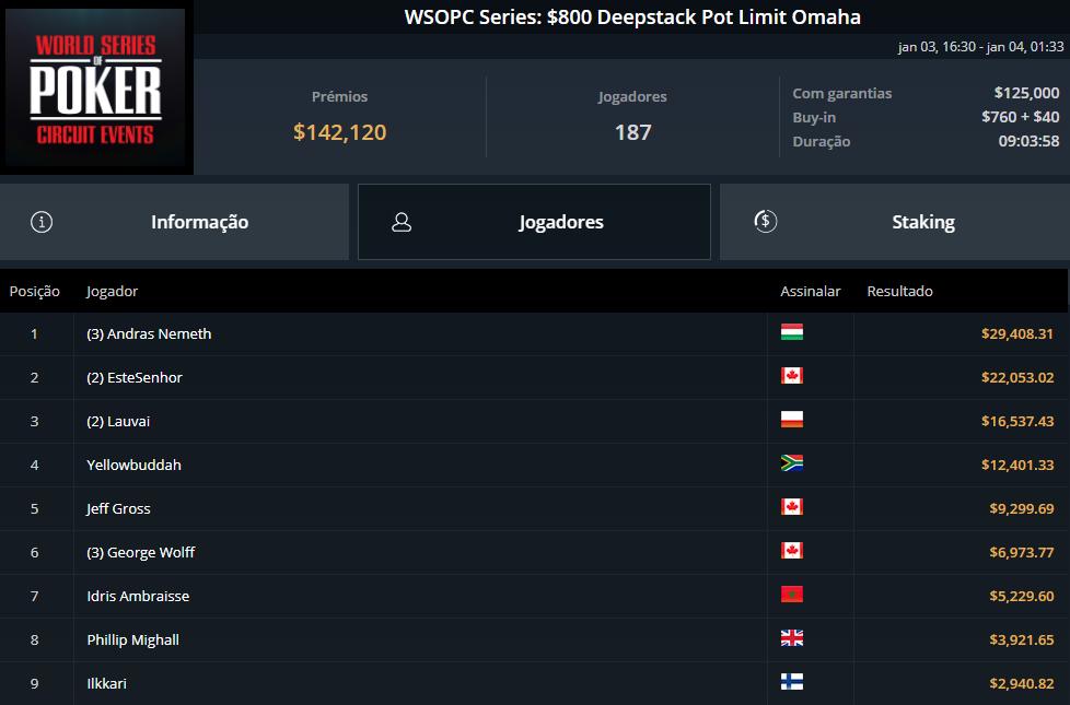 WSOPC Series $800 Deepstack PLO