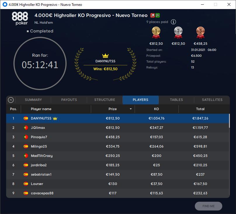 €4000 High Roller KO Progressivo