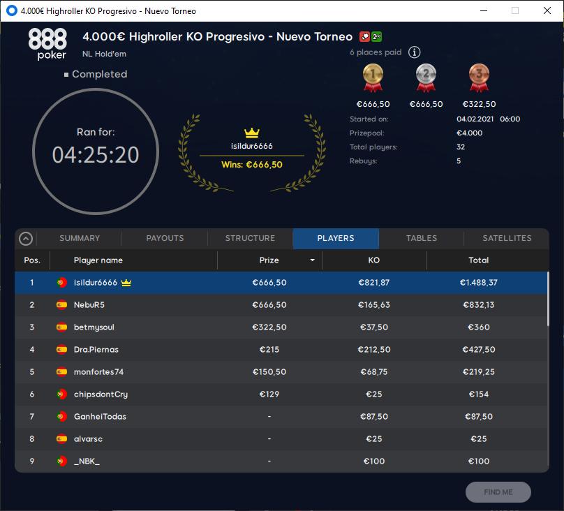 €4000 Highroller KO Progressivo