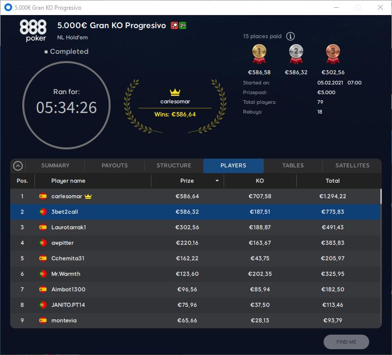 €5000 Gran KO Progressivo