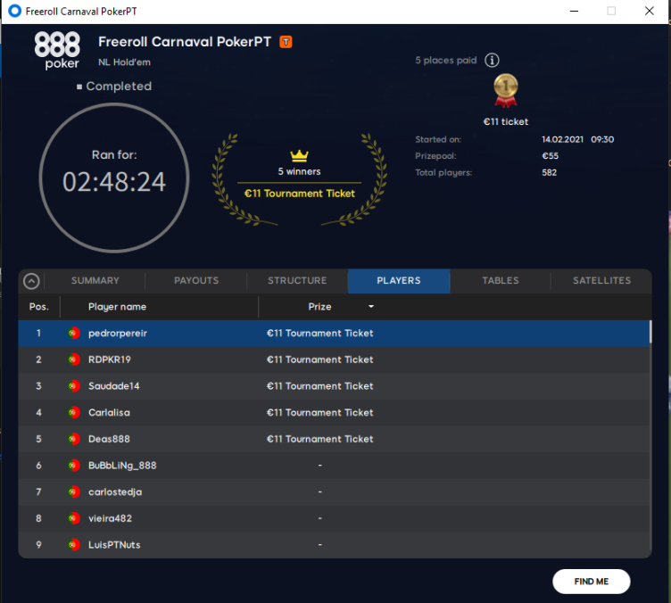 Freeroll Carnaval PokerPT