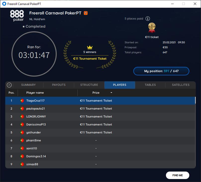 Freeroll Carnaval PokerPT #7