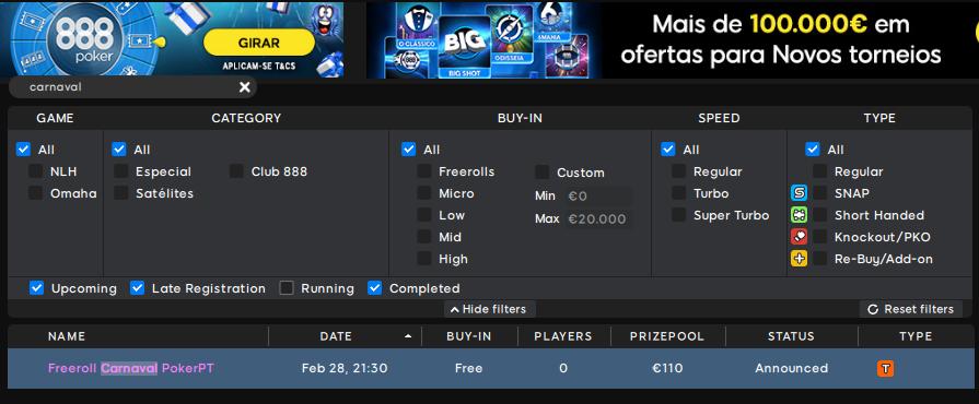 Lobby 888poker - Freeroll Carnaval PokerPT
