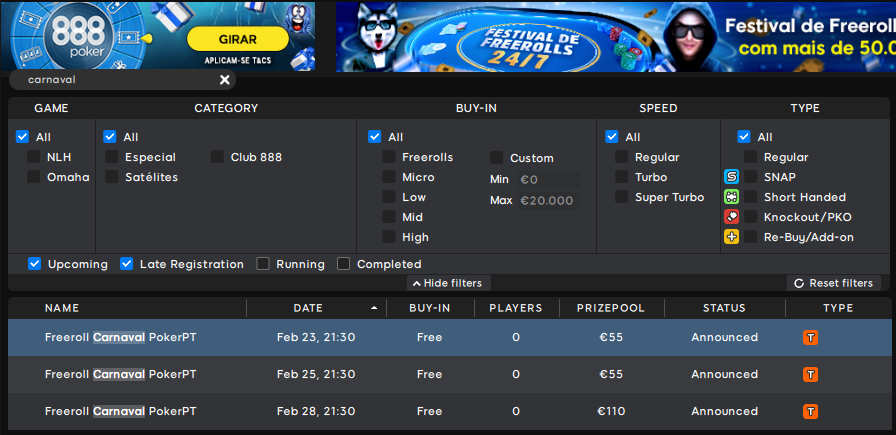 Lobby de torneios Freeroll Carnaval PokerPT