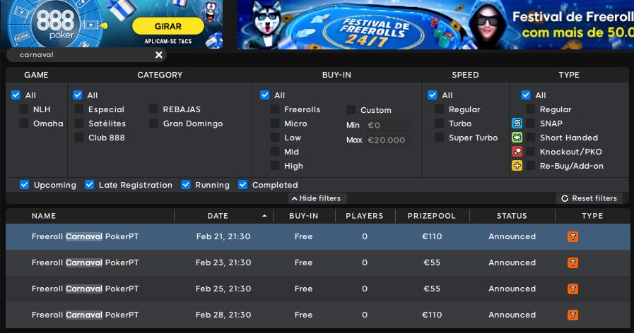 Lobby freerolls Carnaval PokerPT