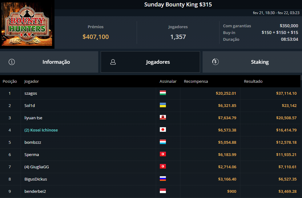 Sunday Bounty King $315