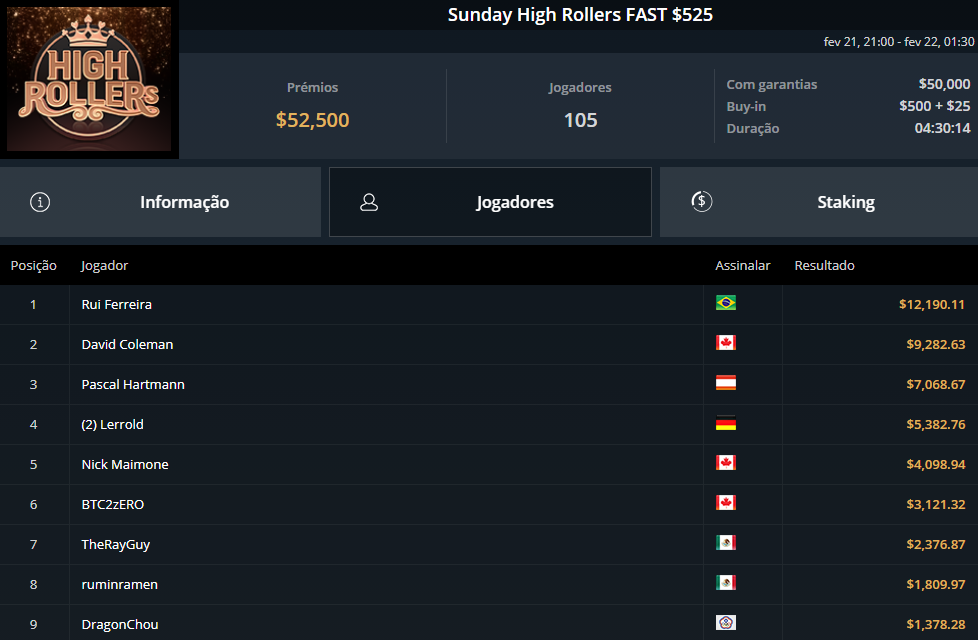 Sunday High Rollers FAST $525