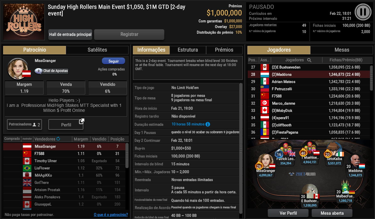 Sunday High Rollers Main Event $1050