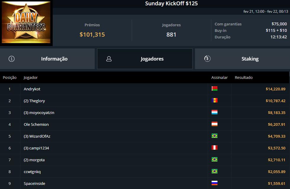 Sunday KickOff $125