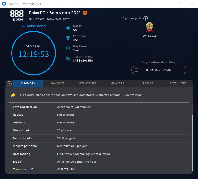 30º PokerPT - Bem vindo 2021