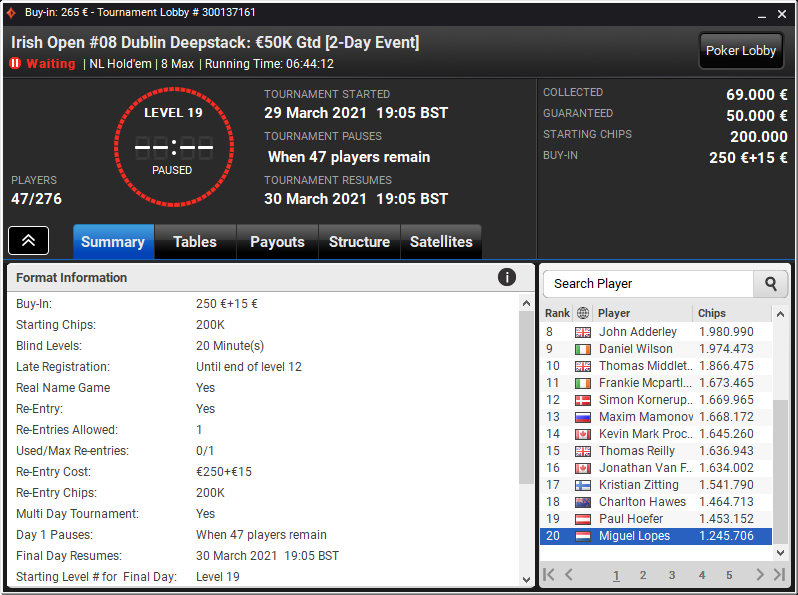 Irish Open #08 Dublin Deepstack $50K Gtd