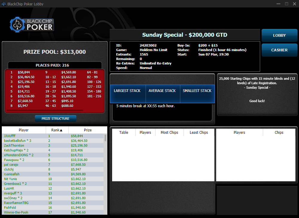 Sunday Special $200000 GTD - WPN