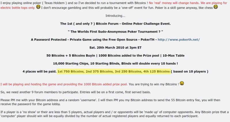 Torneio de Bitcoin em 2010