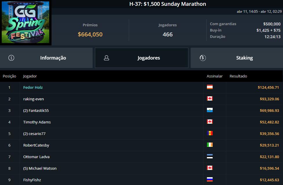 H-37 $1050 Sunday Marathon