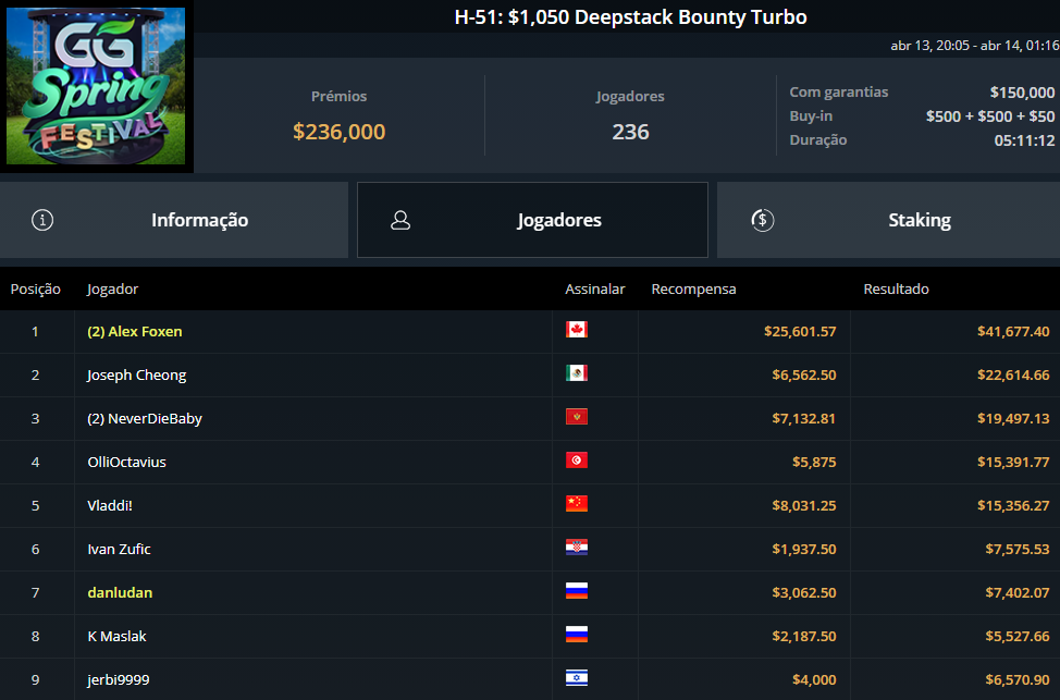 H-51 $1050 Deepstack Bounty Turbo
