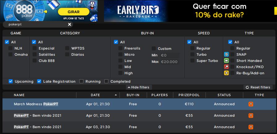 Lobby 888poker - Freerolls PokerPT