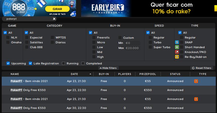 Lobby 888poker - PokerPT Only Free €550