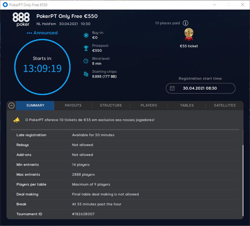 PokerPT Only Free €550 #3