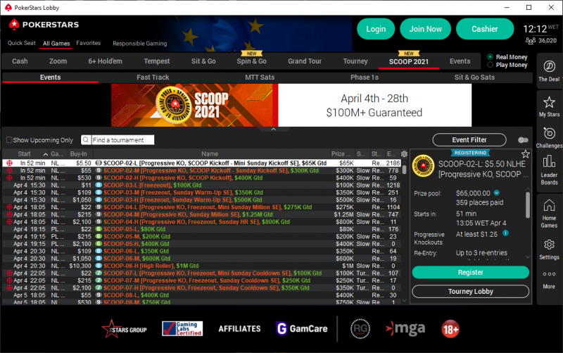 SCOOP 2021 PokerStars