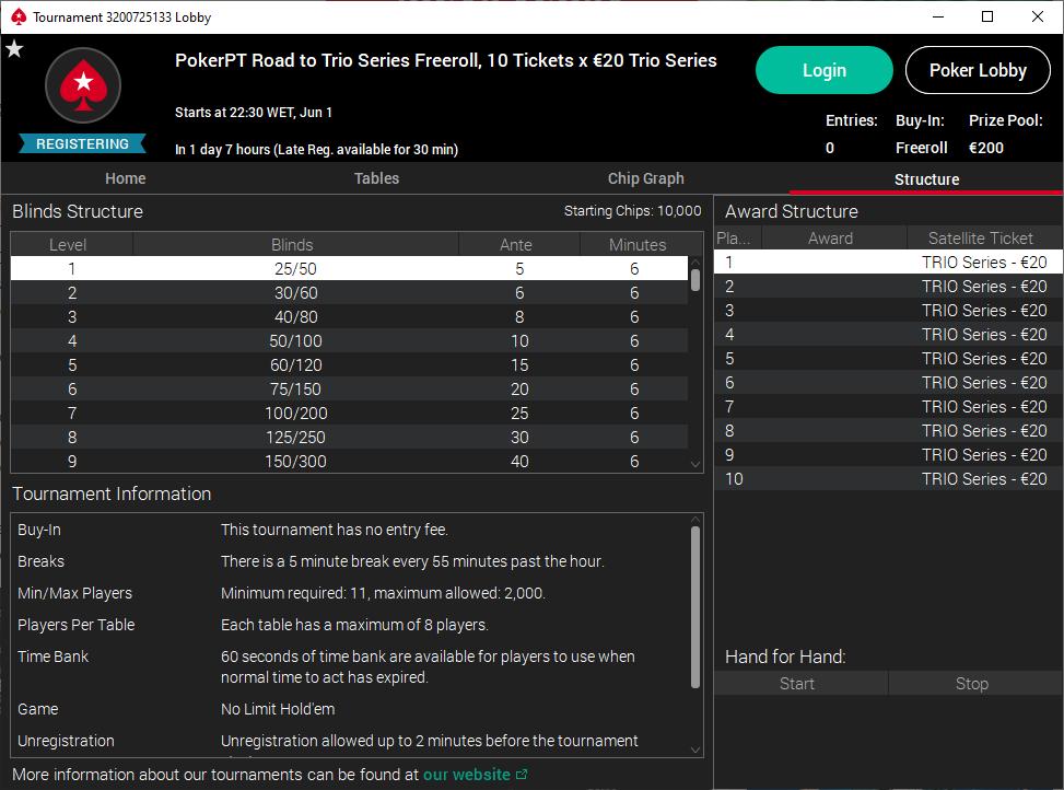 2º PokerPT Road to Trio Series Freeroll