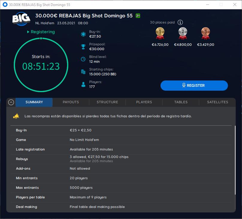 €30000 Rebajas Big Shot Domingo 55