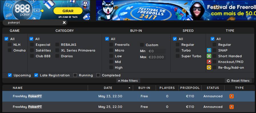 Lobby 888poker - FreeMay PokerPT #3