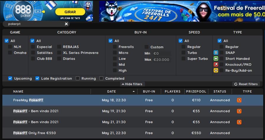 Lobby 888poker - FreeMay PokerPT