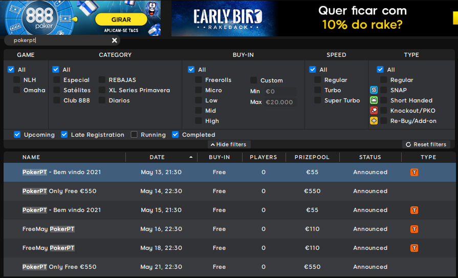 Lobby 888poker - PokerPT Bem vindo 2021 #59