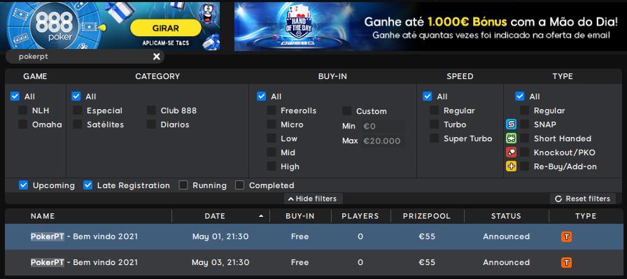 Lobby 888poker - PokerPT-Bem vindo 2021