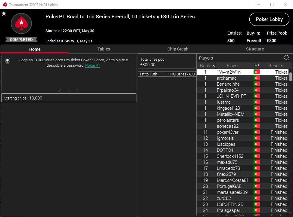 PokerPT Road to Trio Series Freeroll #1